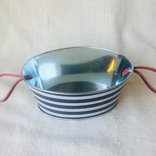 Striped Large Oval Tin Planter