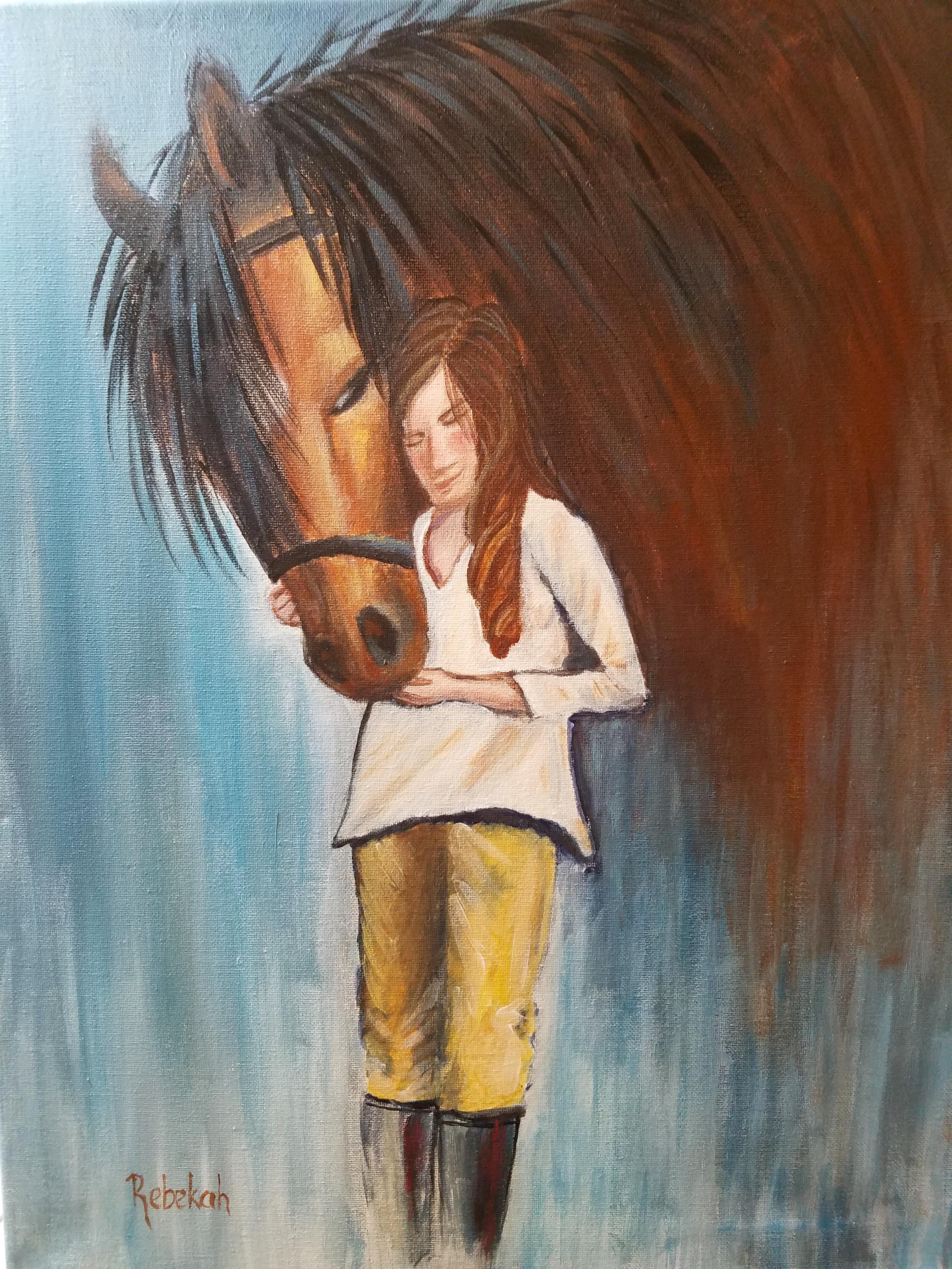 Girl &Horse In Acrylic -Adult