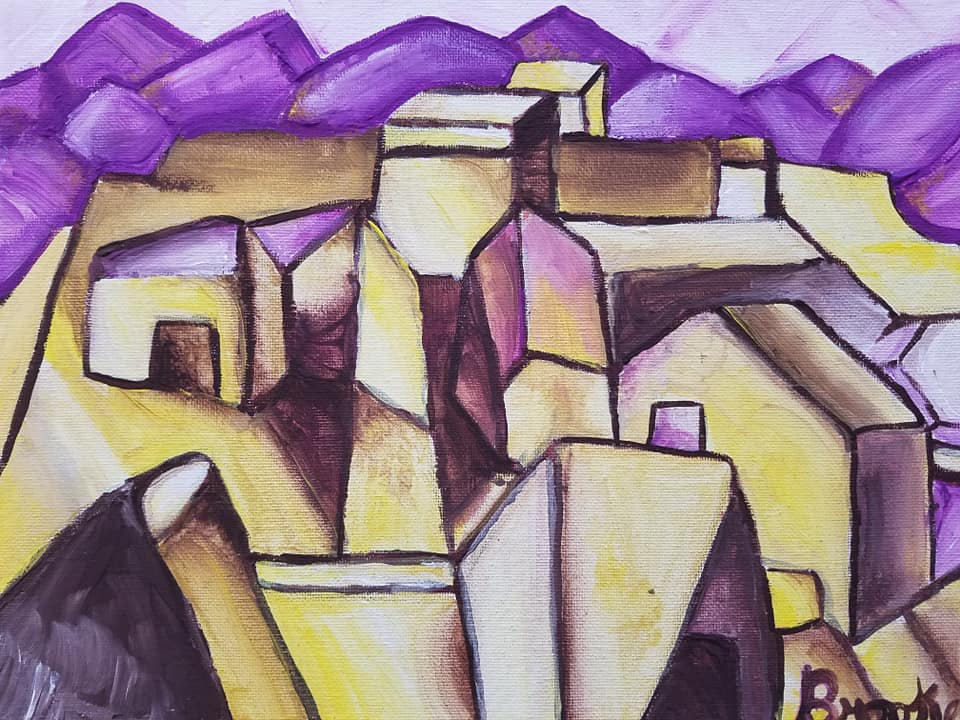 Cubism Landscape In Acrylic- Kid 10
