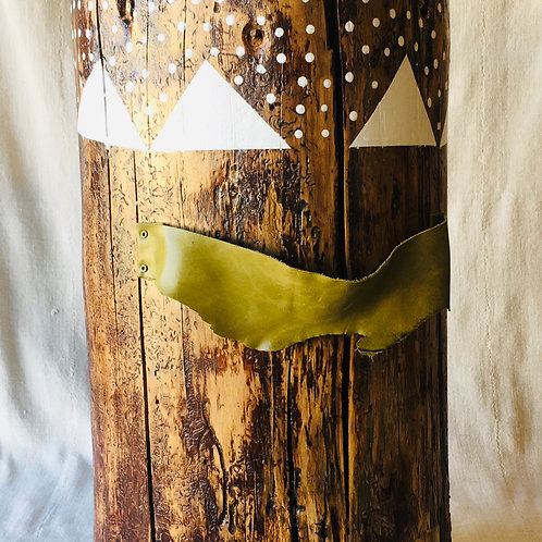 Handpainted Log Side Table