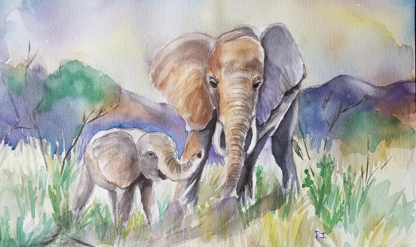 Elephants In A Mountain Landscape