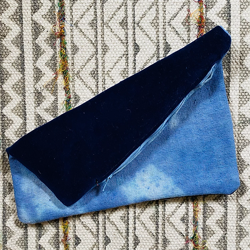 Blue Velvet Indigo Hand Dyed Zipper Pouch