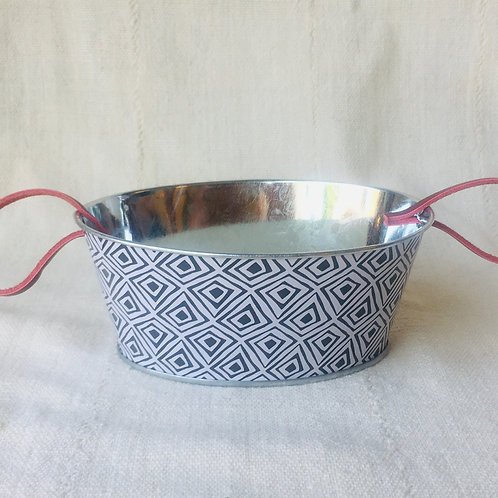Patterned Oval Tin Planter