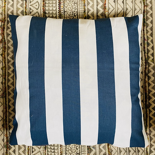 Navy Striped Outdoor Pillow Cover