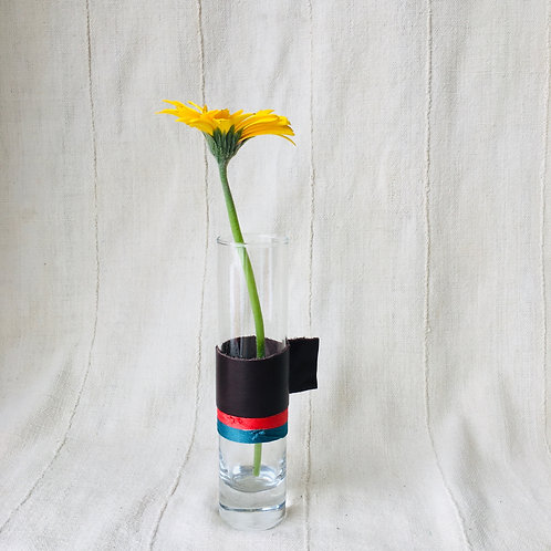Leather Handled Glass Vase