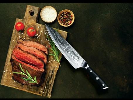 "RAINDROP - 8"" Damascus Chef's Knife inspired by FREYA"