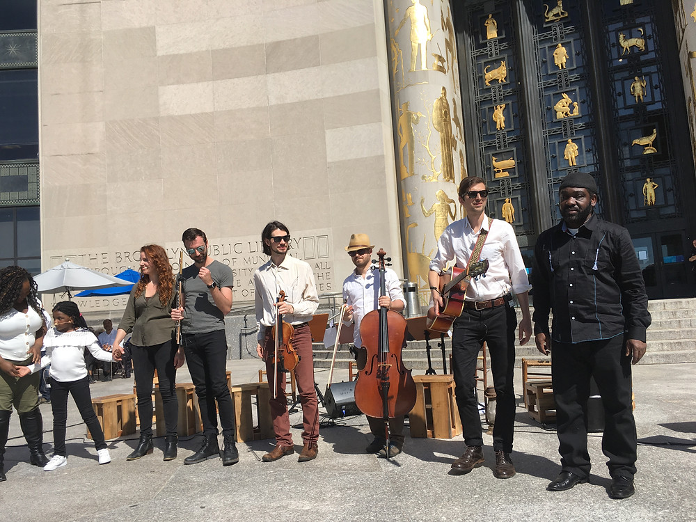 Jake Charkey performing at the Brooklyn Public library for Walt Whitman's Bicentennial