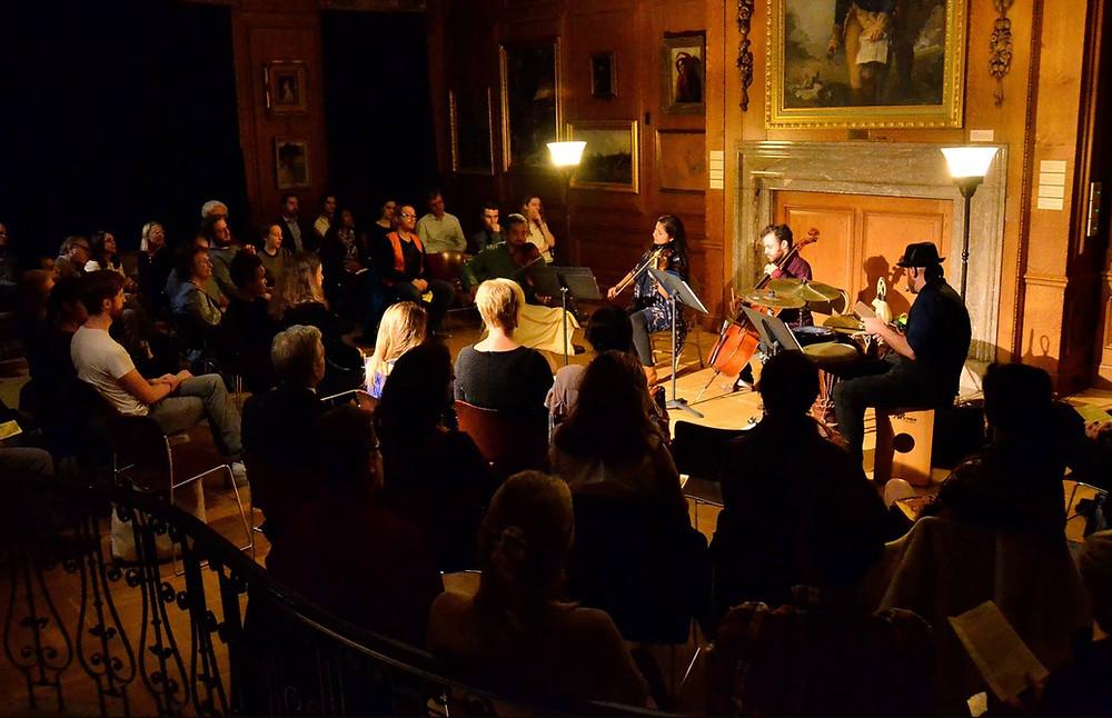 Jake Charkey performing along Nakshatra at the Lyric Chamber Society
