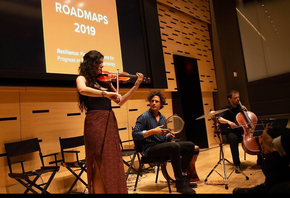 Jake Charkey, Layale Chaker & Adam Maalouf performing at the Lincoln Center for the Roadmaps Festival 2019
