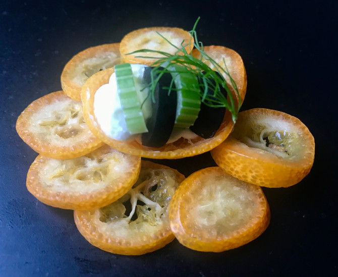 Kumquats with olives and fennel