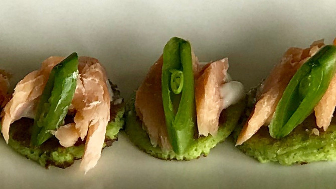 Pea Blini with Smoked Trout
