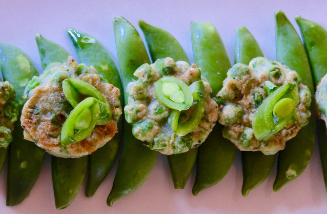 Pea and Wasabi fritters