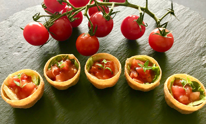 Vine ripened tomato salsa in croustades