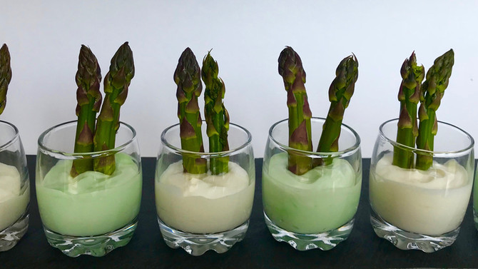 Asparagus with basil and truffle mayo