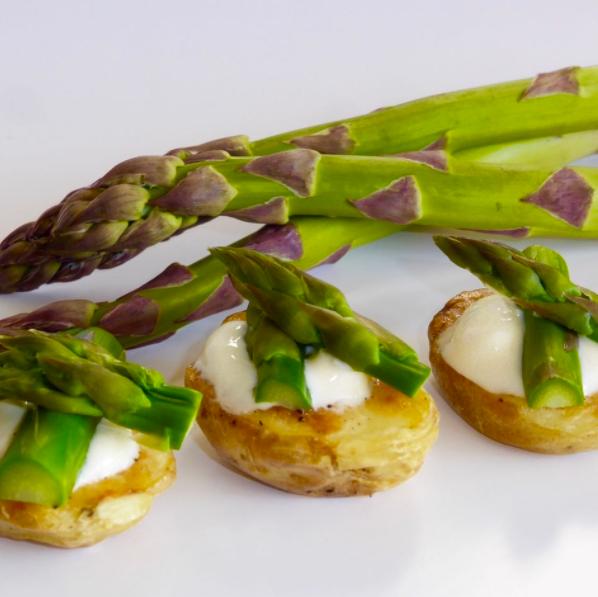 Asparagus on Roasted New Potatoes