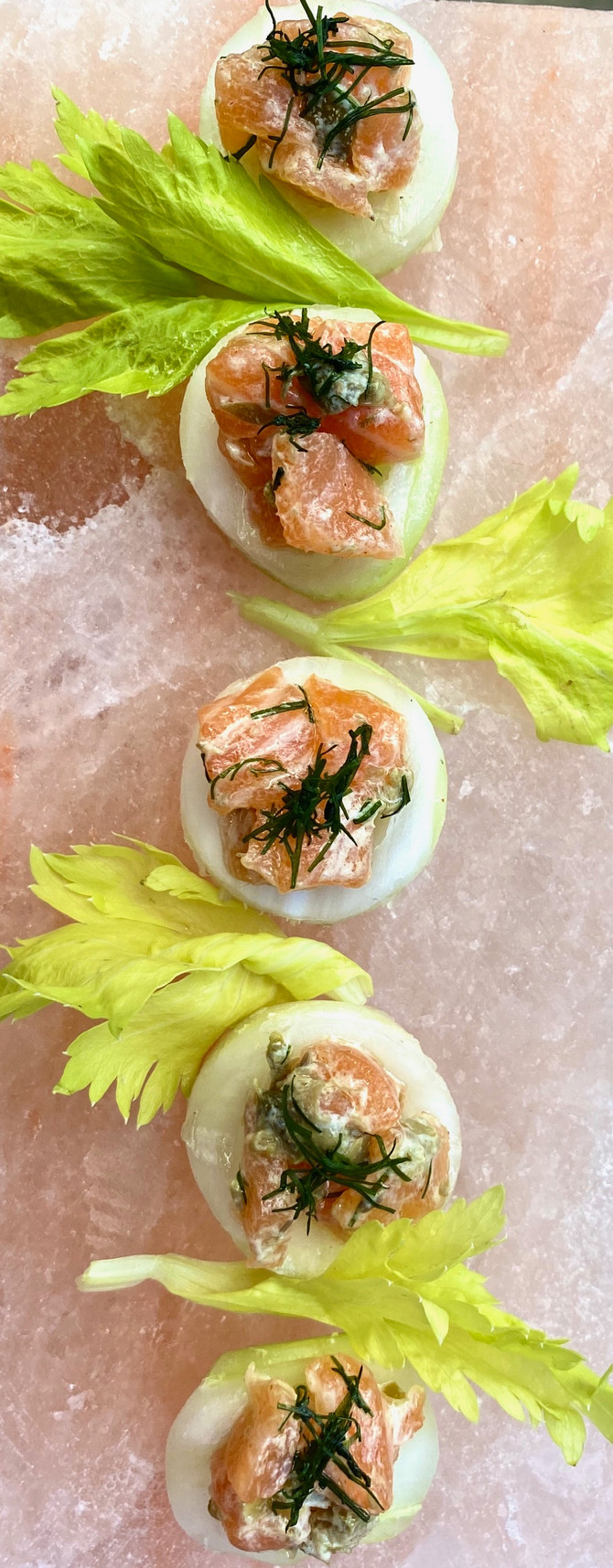 Salmon Tartare in Celery Cups