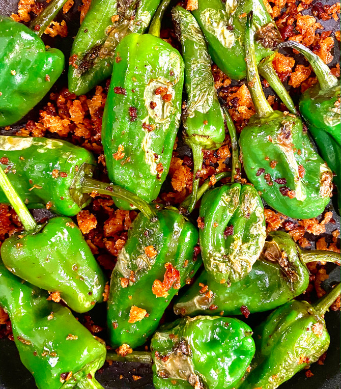 Padron Peppers with Nduja Crumbs