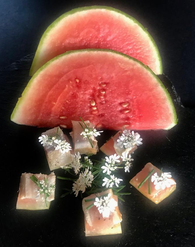 Tuna on Pickled Watermelon Rind