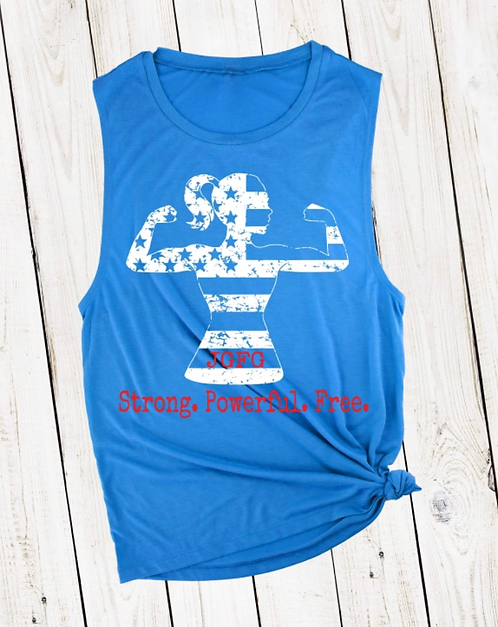 4th of July Blue Muscle Tank
