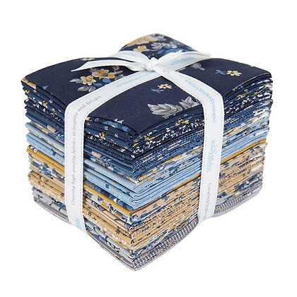 Riley Blake Delightful Fat Quarter Bundle with yellow blue gray premium cotton quilt fabric sewing high quality