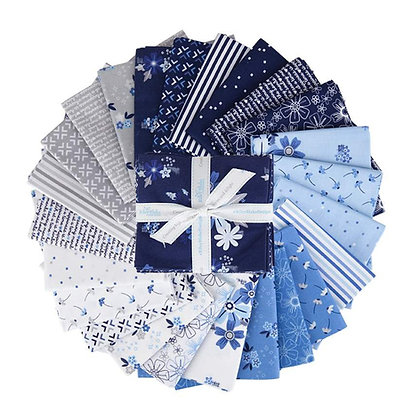 Blue Stitch Fat Quarter Bundle - Riley Blake Fabric - 24 Fat Quarters
