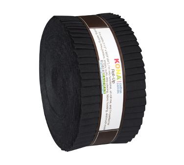 "Black Kona Cotton Roll-up by Robert Kaufman, 40 piece 2.5"" Jelly Roll Fabric Bundle, Cotton Fabric, Cotton Solids"