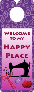 Knobie Talk Welcome to my Happy Place Door Hanger by Fat Quarter Gypsy