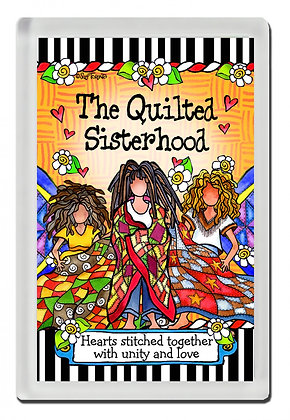 The Quilted Sisterhood Magnet by Suzy Toronto Hearts stitched together with unity and love