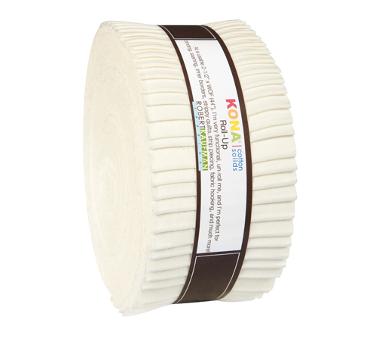 "Snow Cream Kona Cotton Roll-up by Robert Kaufman, 40 piece 2.5"" Jelly Roll Fabric Bundle, Cotton Fabric, Cotton Solids"