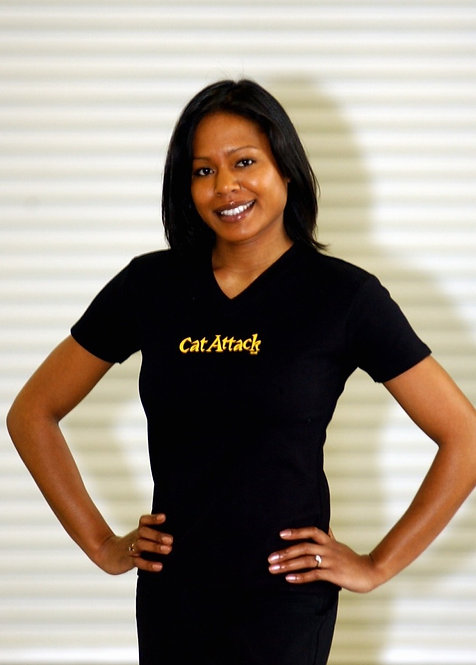 black cat attack v neck short sleeve t shirt with yellow logo