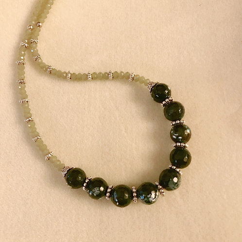 Faceted Green Agate with crystal