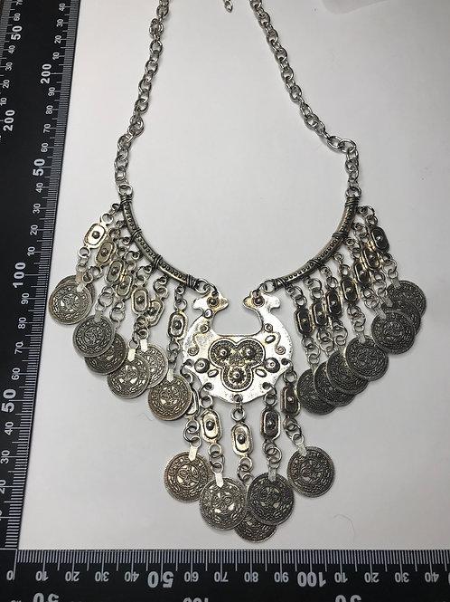 Coin necklace -silver tone