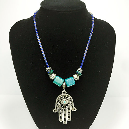 Hamsa -porcelain and silver beads