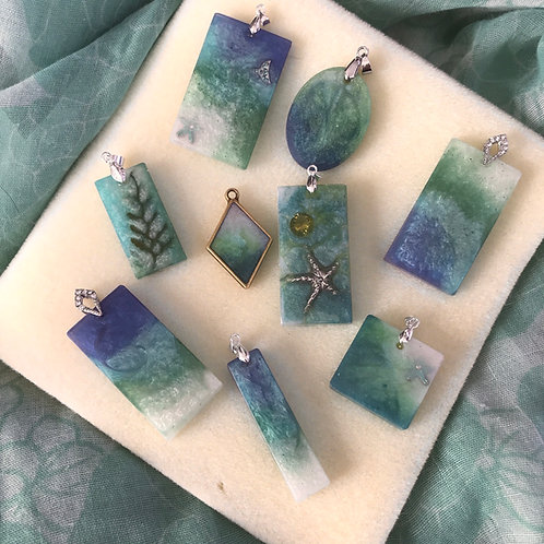 Ocean resin pendants