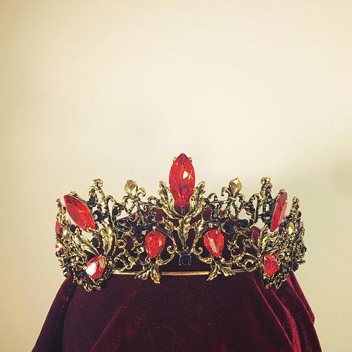 Brass and Red Gem Tiara