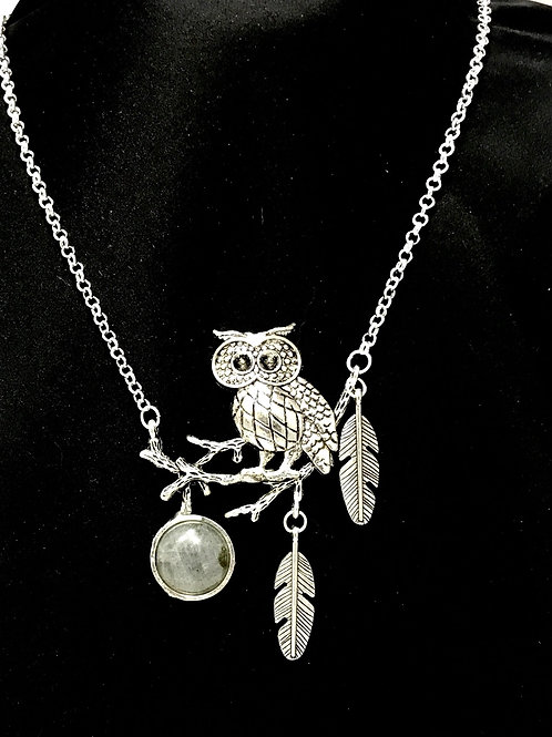 Grey Labradorite & Owl
