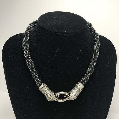 Leather Braided- Silver Snake clasp