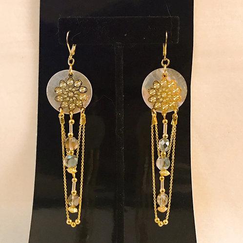 Mother of Pearl / crystal earrings