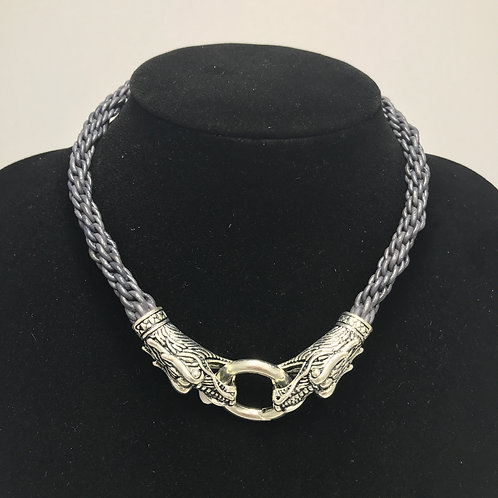 Leather Braided- silver Dragon clasp