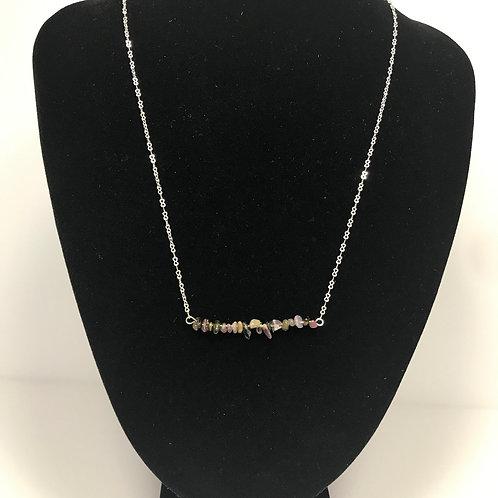 Gemstone Chip silver necklace