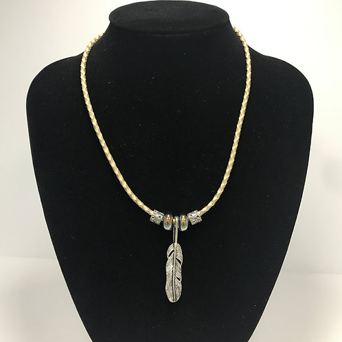 Silver feather- porcelain and silver beads