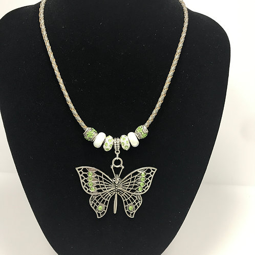 Green Butterfly- silver and porcelain beads