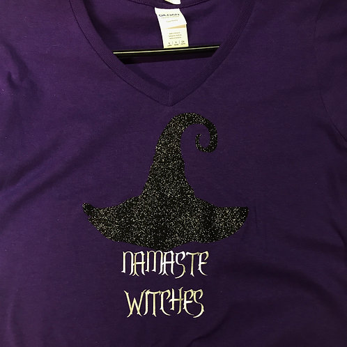 Namaste Witches ladies purple v-neck