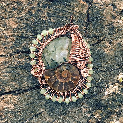 Ammonite & Green Rutile Quartz