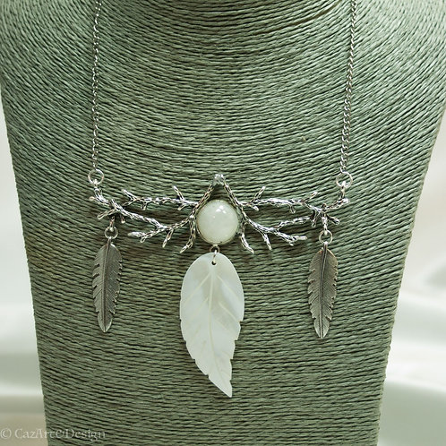 Moonstone and Feather mother of pearl