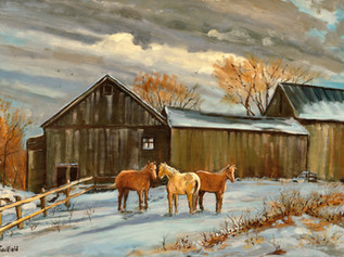 Barn and Horses, Lynnfield