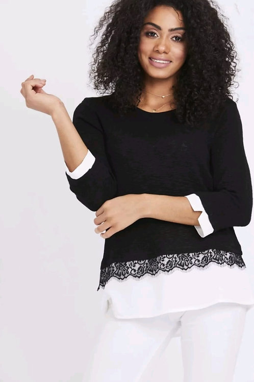 Smart Layered Black Blouse With Lace Detail