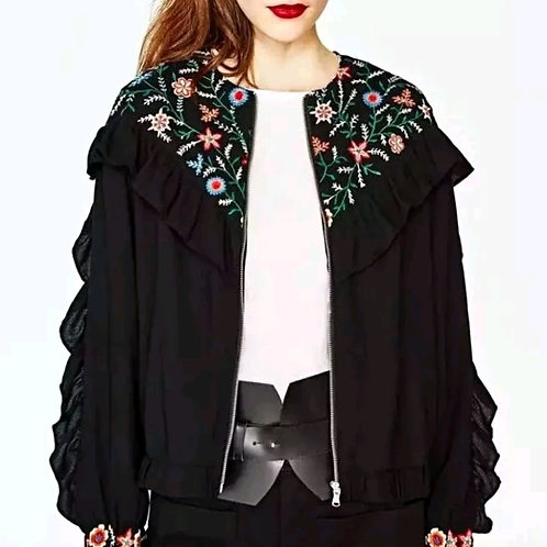 Floral Embroidery Bomber Jacket Blazer Blouse Top