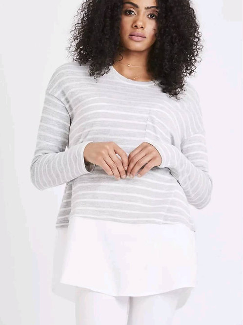 Grey & White Striped Layer Top
