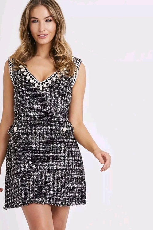 Pearl Detail Tweed Shift Dress